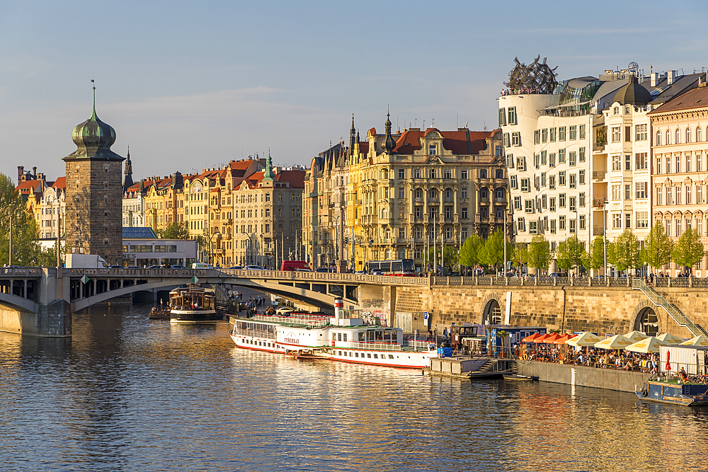 Art Nouveau buildings at Vltava River embankment, Prague, Bohemia, Czech Republic, Europe, Europe