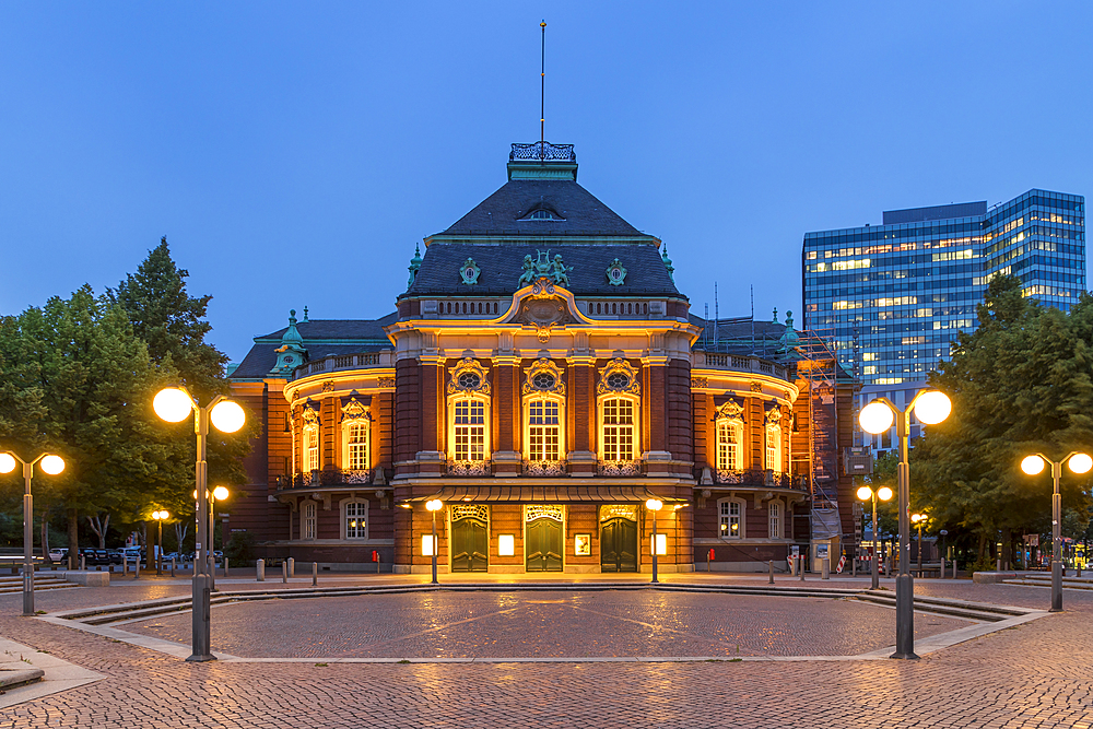 The illuminated Laeiszhalle concert hall at Johannes Brahms Square during dusk, Hamburg, Germany, Europe - 1283-925