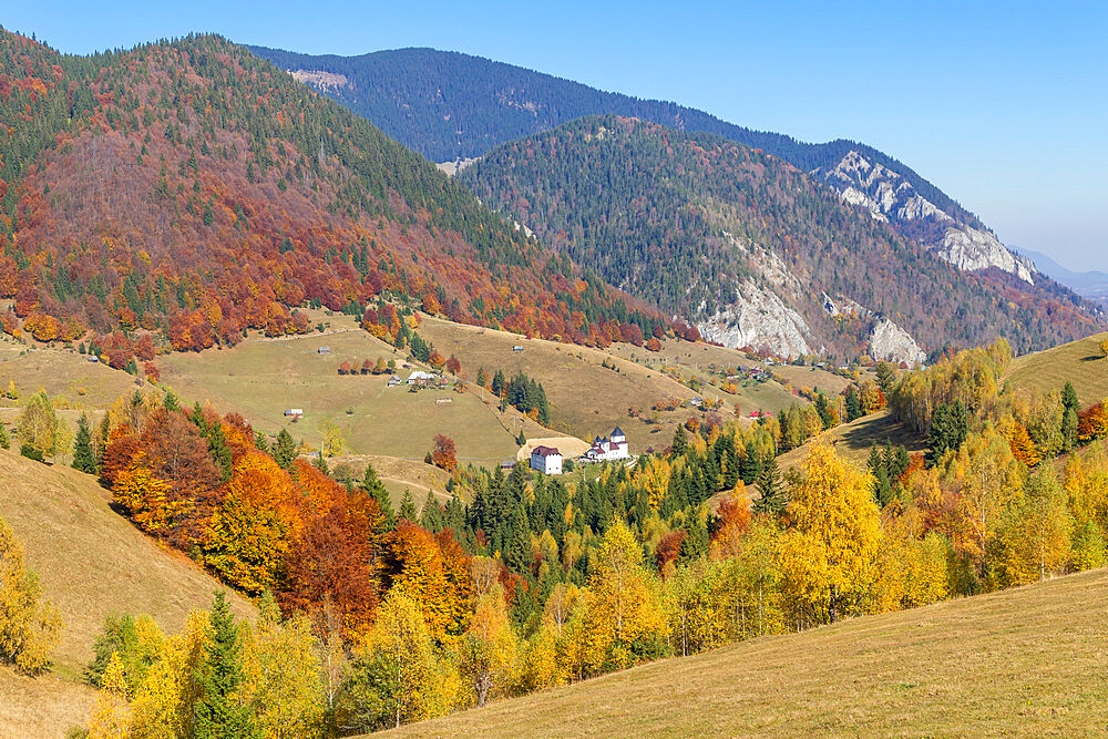 View to the Piatra Craiului Mountain during autumn, Pestera, Romania, Europe
