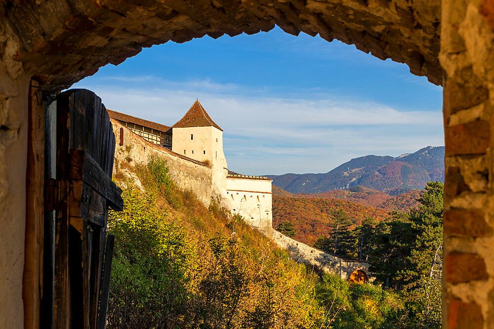 Rasnov Fortress during autumn, Rasnov, Romania, Europe