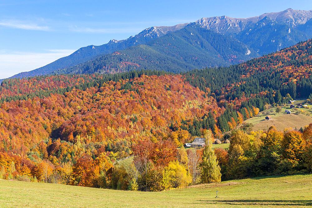 View from Bran Monastery to the Bucegi Mountain Range during autumn, Simon, Romania, Europe