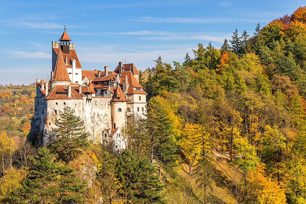 The famous Bran Castle seen from a lookout during autumn, Bran, Romania, Europe - 1283-952