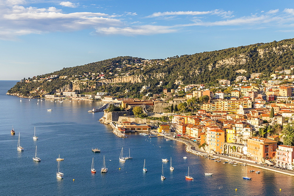 Elevated view from the Basse Corniche over Villefranche sur Mer, Alpes Maritimes, Cote d'Azur, French Riviera, Provence, France, Mediterranean, Europe