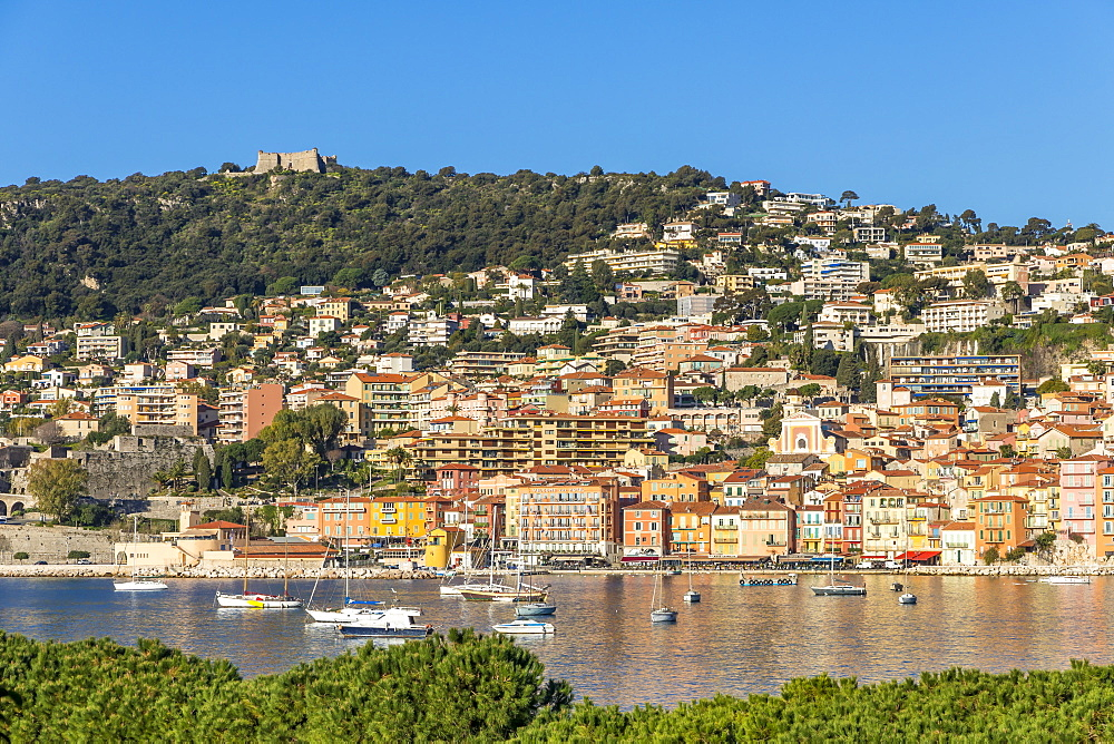 View from to the old town and Mont Alban fortress, Villefranche sur Mer, Cote d'Azur, French Riviera, France, Europe
