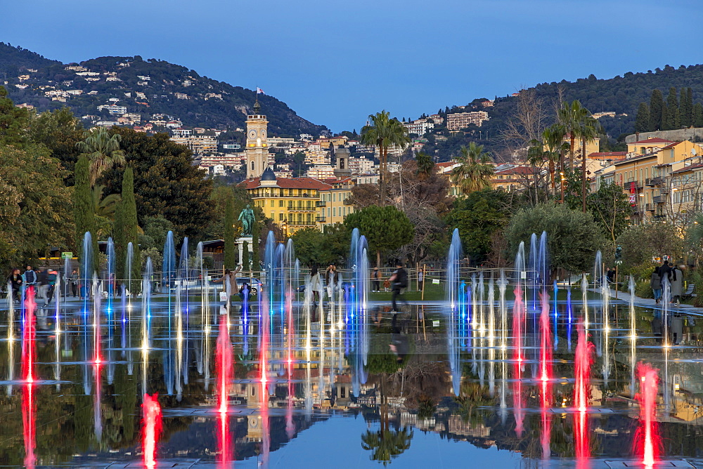 Illuminated Mirror Water Fountain at Promenade du Paillon, Nice, Cote d'Azur, French Riviera, Provence, France, Europe