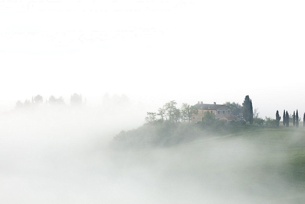 Villa in the mist at sunrise, San Quirico d'Orcia, Val d'Orcia, UNESCO World Heritage Site, Tuscany, Italy, Europe