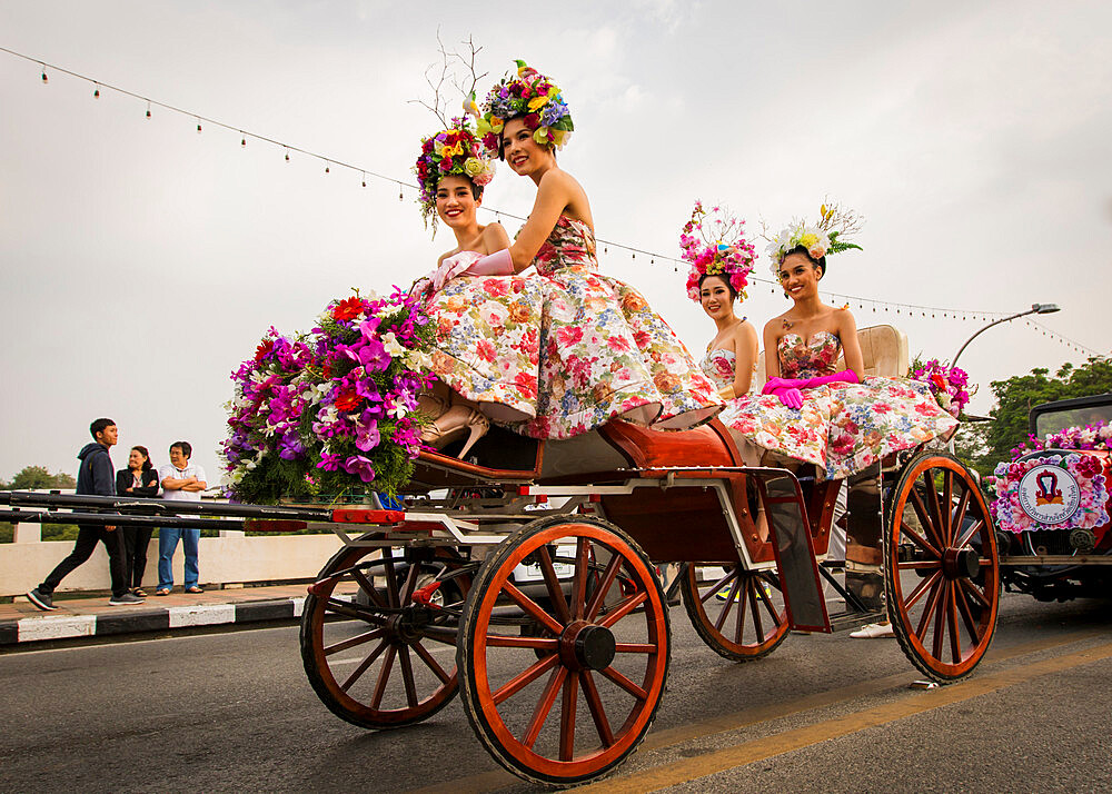 Floral float display at Chiang Mai Flower Festival