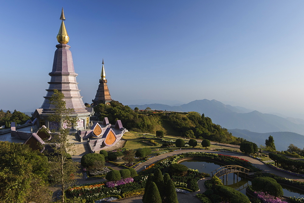 King and Queen Pagodas, Doi Inthanon, Thailand, Southeast Asia, Asia - 1286-37
