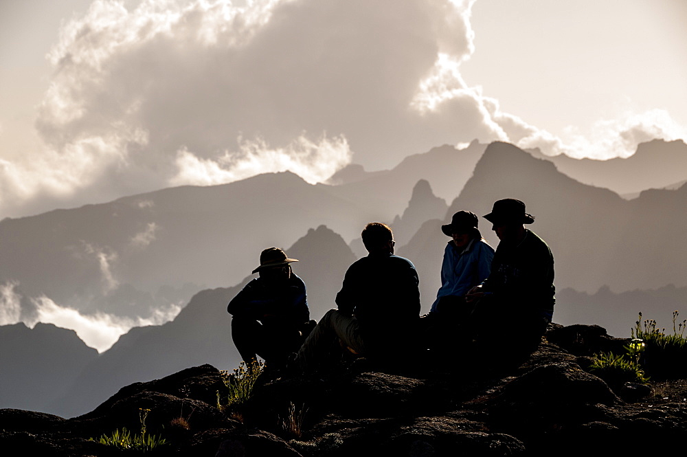 A group of trekkers relaxing after a long day at New Shira Camp on the Machame Route to the summit of Mount Kilimanjaro, Tanzania, East Africa, Africa