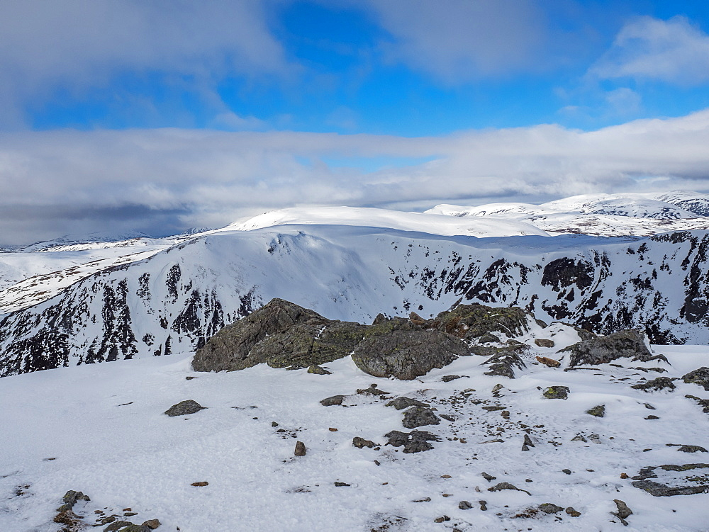 On the summit of The Cairnwell in the Cairngorm National Park looking over the glen to Carn a' Gheoidh in the distance, Cairngorm National Park, Scotland, United Kingdom, Europe - 1287-61