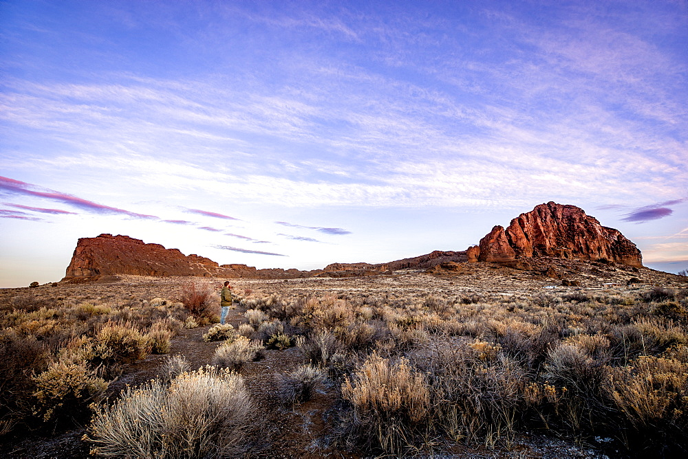 A man stands in sagebrush, looking at a large rock formation during sunrise in the desert, Oregon, United States of America, North America