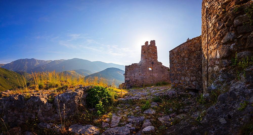 The ruins of the old castle, Himara, South coast, Albania, Europe