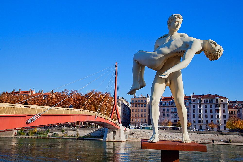 Pont de la Justice, Lyon, Auvergne-Rhone-Alpes, France, Europe