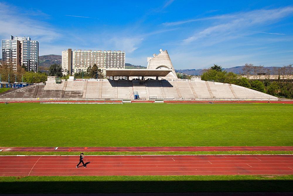 Le Corbusier's Stadium, Site Le Corbusier, Firminy, Loire Department, Auvergne-Rhone-Alpes, France, Europe