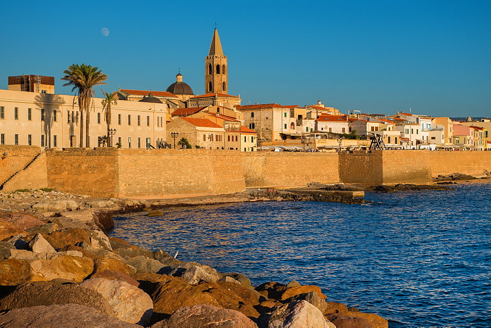 City walls and the cathedral of Alghero, Sardinia, Italy, Europe - 1292-1506