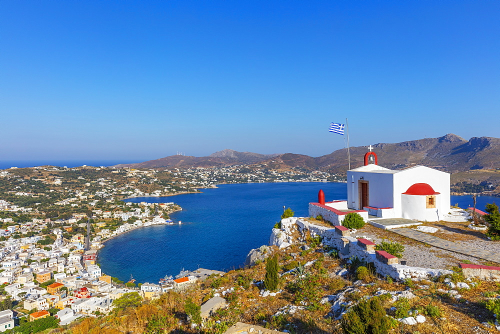 View from the Castle, Leros Island, Dodecanese, Greek Islands, Greece, Europe