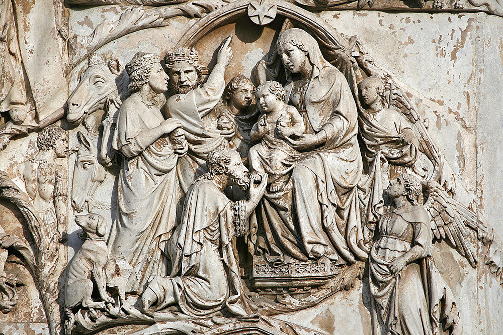 Reliefs. Second Pillar: Stories of the old testament, Cathedral of Santa Maria Assunta, Orvieto, Terni, Umbria, Italy - 1292-1644