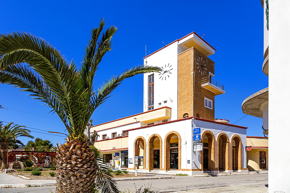 The clock tower, Lakki, Leros Island, Dodecanese, Greek Islands, Greece, Europe