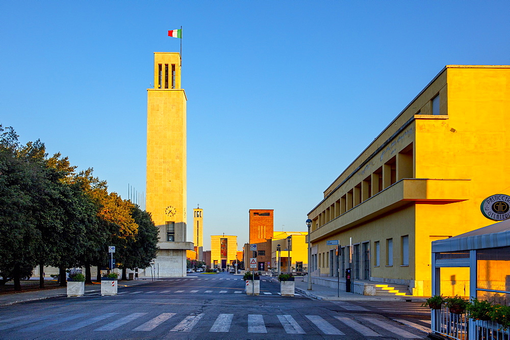 Torre Littoria on left and Casa del Fasci, Sabaudia, Latina, Lazio, Italy, Europe
