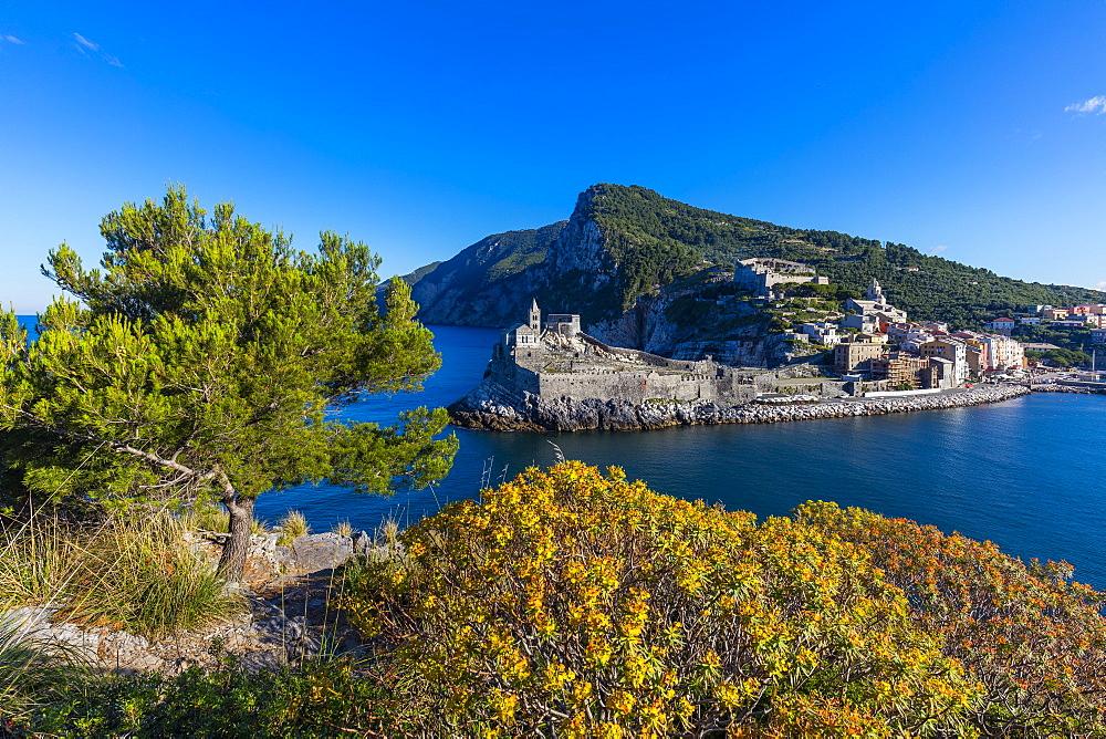 Island of Palmaria, view of Portovenere from Palmaria, Liguria, Italy, Europe
