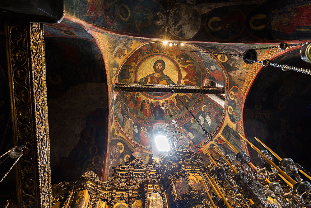 The Monastery of Saint John the Theologian, The Main Church, frescoes in the dome, UNESCO World Heritage Site, Patmos, Dodecanese, Greek Islands, Greece, Europe
