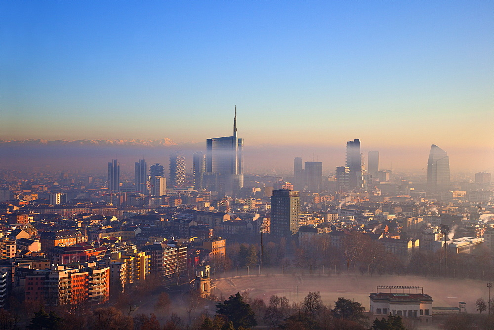 View from the Torre Branca to the Porta Nuova district,Milano, Lombardia, Italy