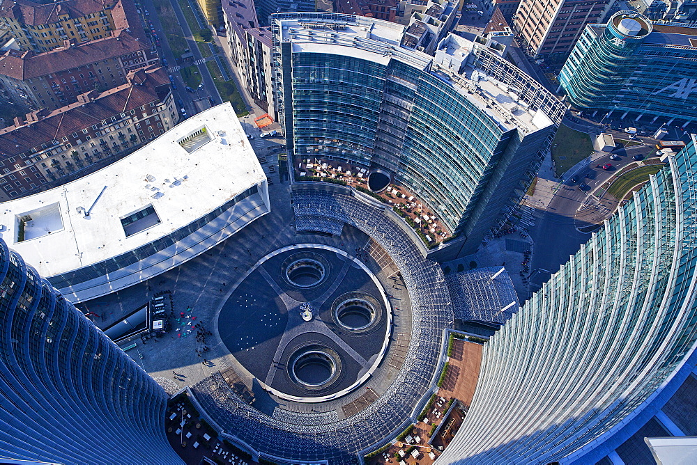 Piazza Gae Aulenti, View from the Unicredit tower,Porta Nuova district,Milano, Lombardia, Italy