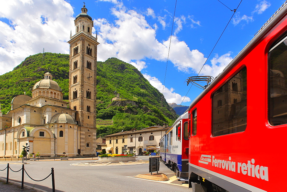 The Bernina Express in Tirano, Lombardy, Italy, Europe