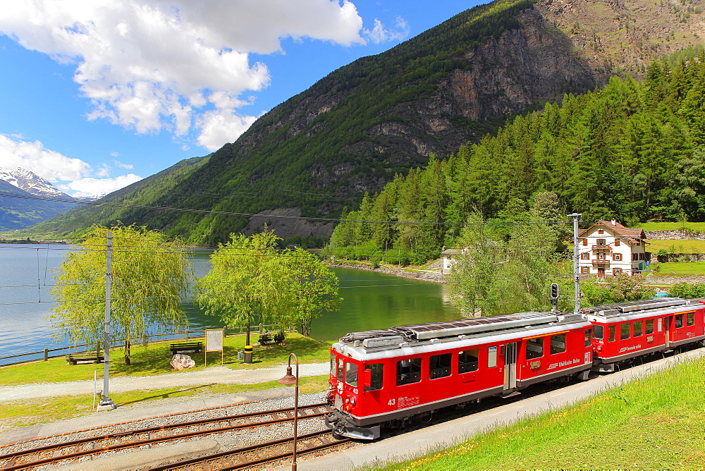 Bernina Express in Poschiavo, Canton of Graubunden (Grigioni), Switzerland, Europe