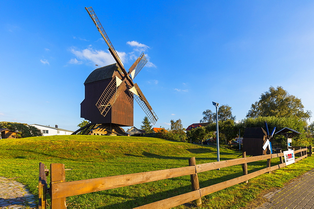Eldena Post windmill, near the Village of Wieck, Greifswald, Mecklenburg-Vorpommern, Germany