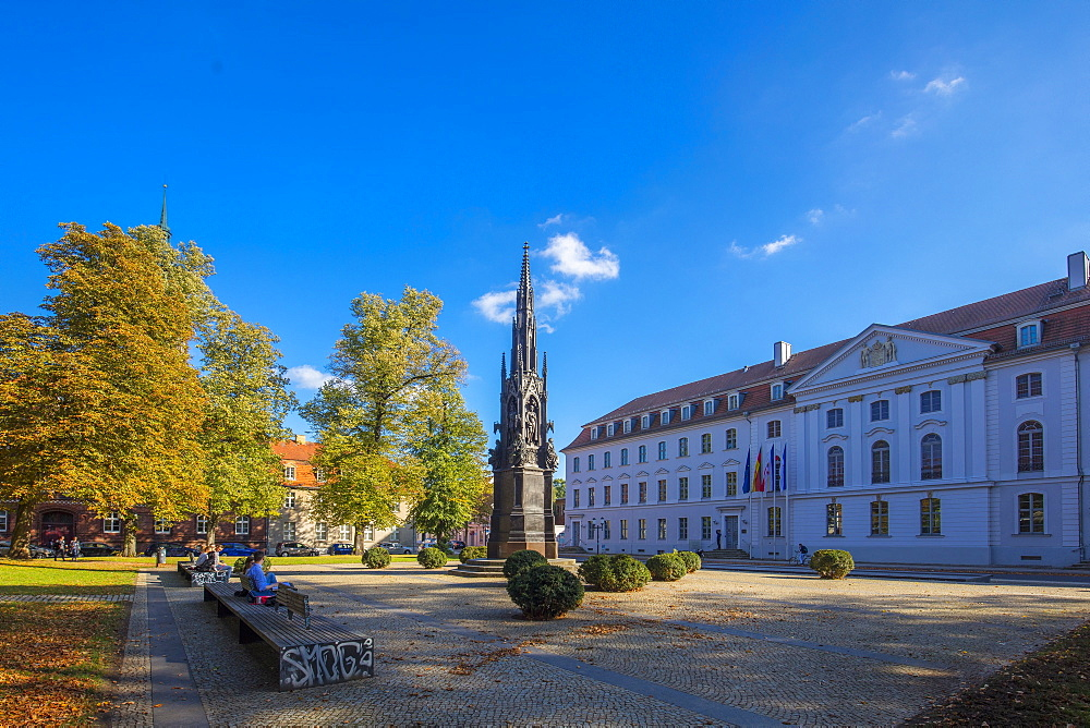 The Rubenow monument, in front at the University, in Rubenow Square, Greifswald, Mecklenburg-Vorpommern, Germany