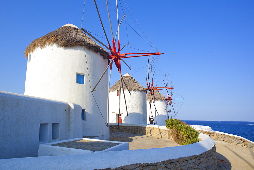 Windmills, Mykonos, Cyclades, South Aegean, Greek Islands, Greece, Europe