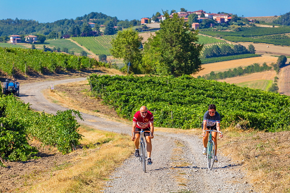 The Rampina, white road of the Cycling race La Mitica, from Villaromagnano to Costa Vescovado, on the Fausto Coppi's roads, Tortona area, Piedmont, Italy, Europe