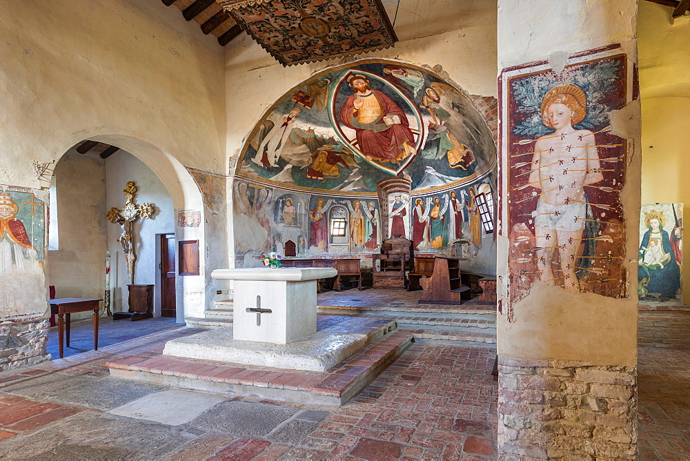 On the Fausto Coppi's roads, Romanesque Church of St. Peter, Volpedo, Tortona area, Alessandria, Piedmont, Italy, Europe