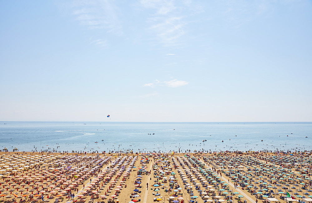 Sun umbrellas cover the beach, elevated view, Lignano Sabbiadoro, Veneto, Italy, Europe