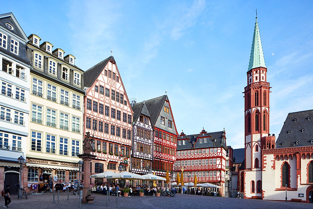 Old Town framework buildings at the Romerberg, Frankfurt am Main, Hesse, Germany, Europe