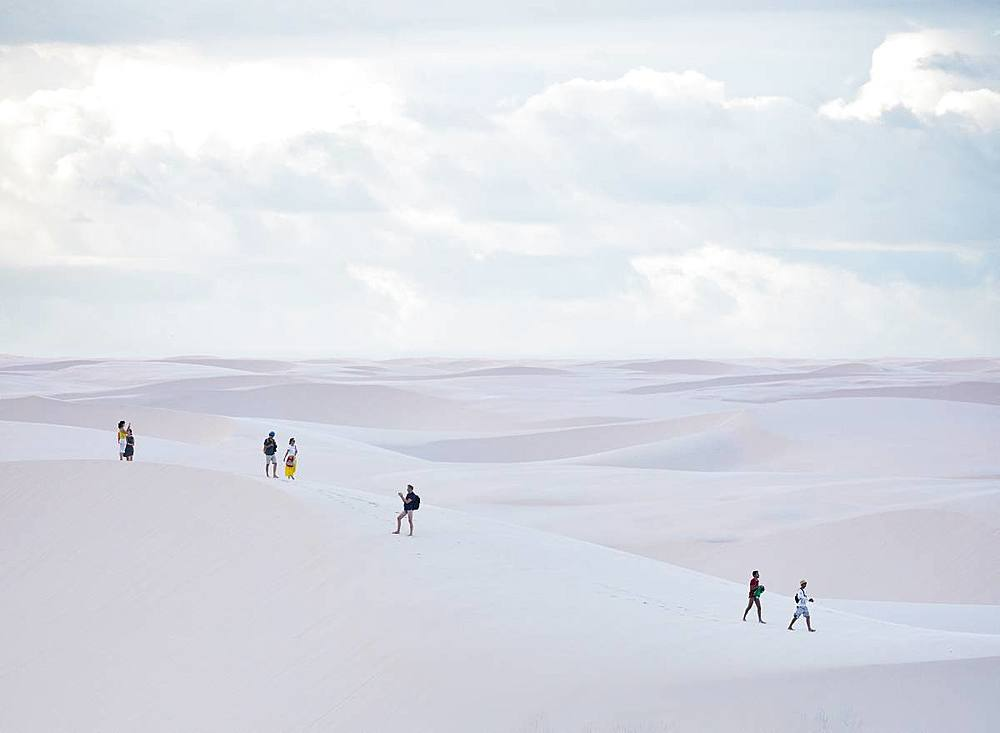 Tourists in Lencois Maranhenses National Park, Maranhao, Brazil, South America - 1294-34