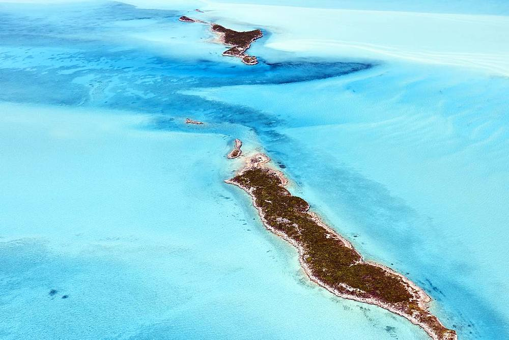 Aerial view of small islands in the shallow waters of the Exumas, Bahamas, West Indies, Central America - 1294-47