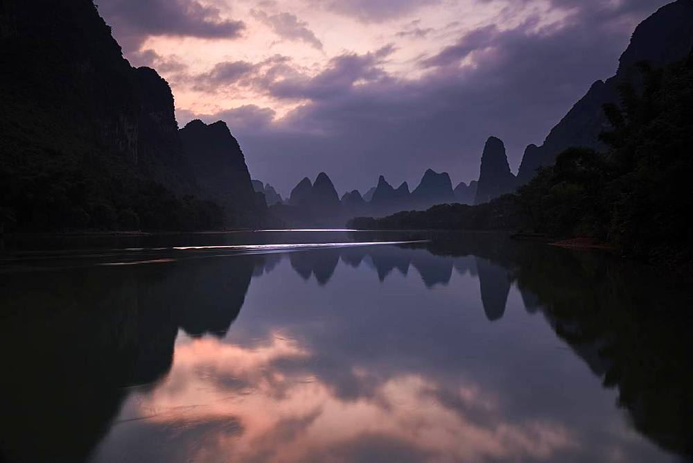 Sunrise reflected in the Li River, Guilin, China, Asia - 1294-50