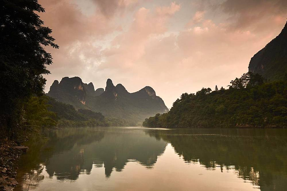 Sunrise reflected in the Li River, Guilin, China, Asia - 1294-51