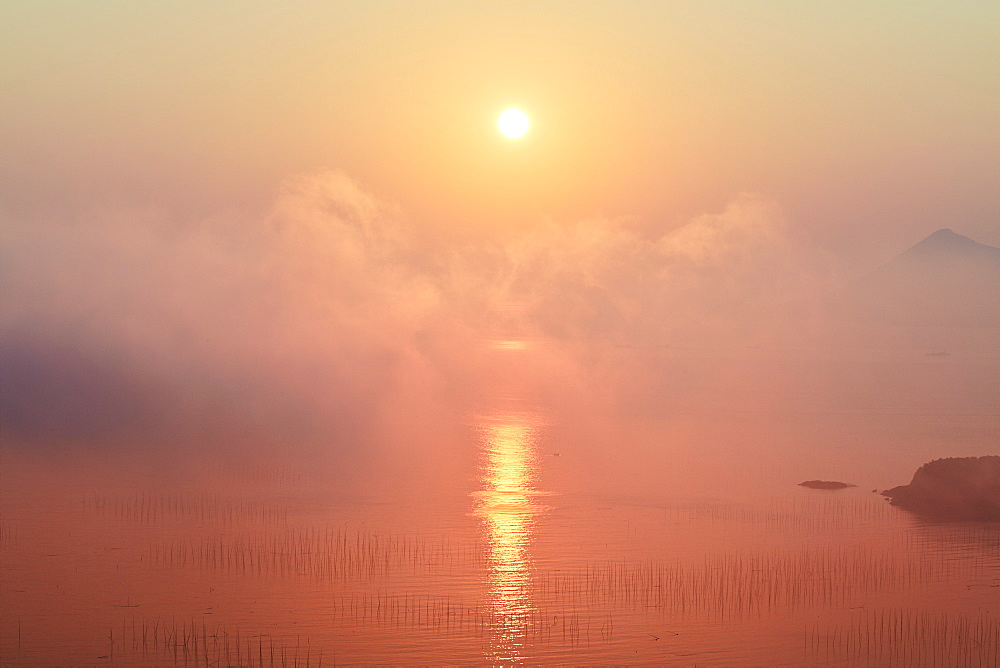 Hush beach at sunrise with bamboo sticks in the water, Fujian, China, Asia - 1294-56