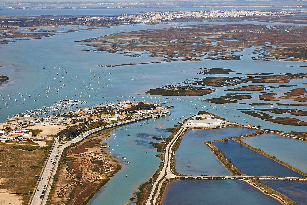 Bay of Cadiz aerial yacht harbour and marina and San Fernando in the back