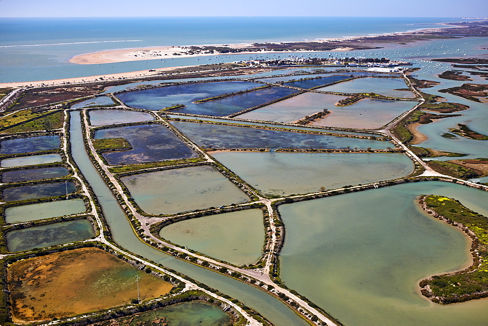 Bay of Cadiz aquaculture and salt harvesting and Atlantic Ocean, Cadiz, Andalucia, Spain, Europe - 1294-66