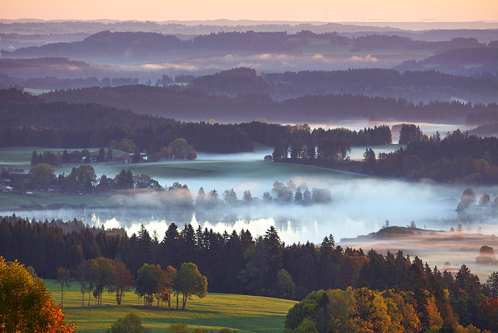 Morning autumn fog above lake Hassloch in the Allgau, seen from Auerbeg hill, Bavaria, Germany, Europe - 1294-69