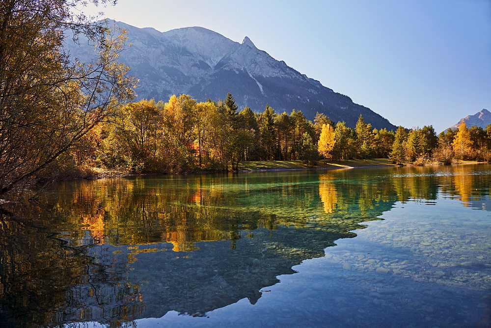 Autumn mood at lake Lechau with mountain range reflected in lake, Tyrol, Austria, Europe - 1294-72