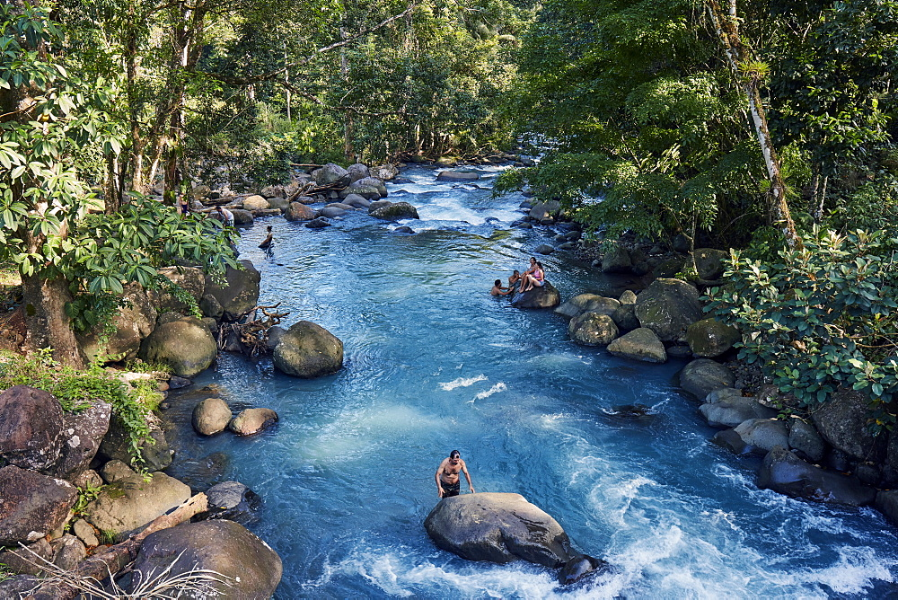 Rio Celeste in the Tenorio National Park shows a bright blue color like no other river due to a chemical reaction. - 1294-77