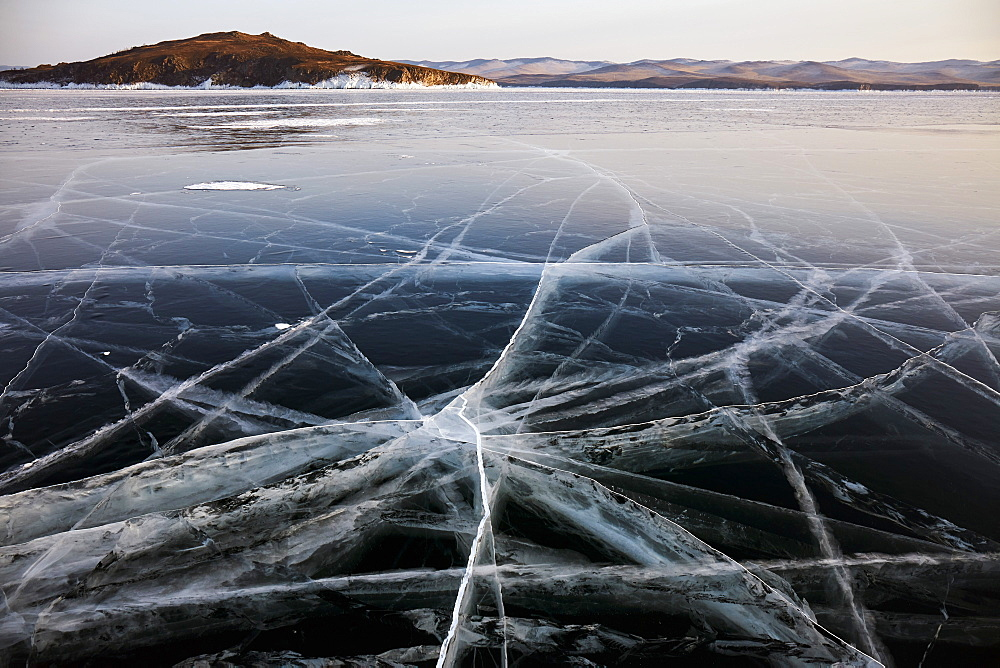 Lake Baikal in winter ice, Siberia, Russia, Europe - 1294-80