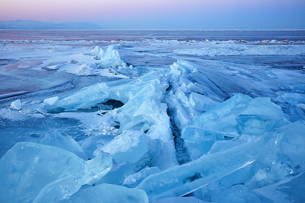 Lake Baikal in winter ice, Siberia, Russia, Europe - 1294-88