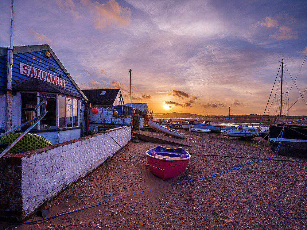 Sunset with boats on the Exe shoreline at the back of Camperdown Terrace, Exmouth, Devon, UK - 1295-213