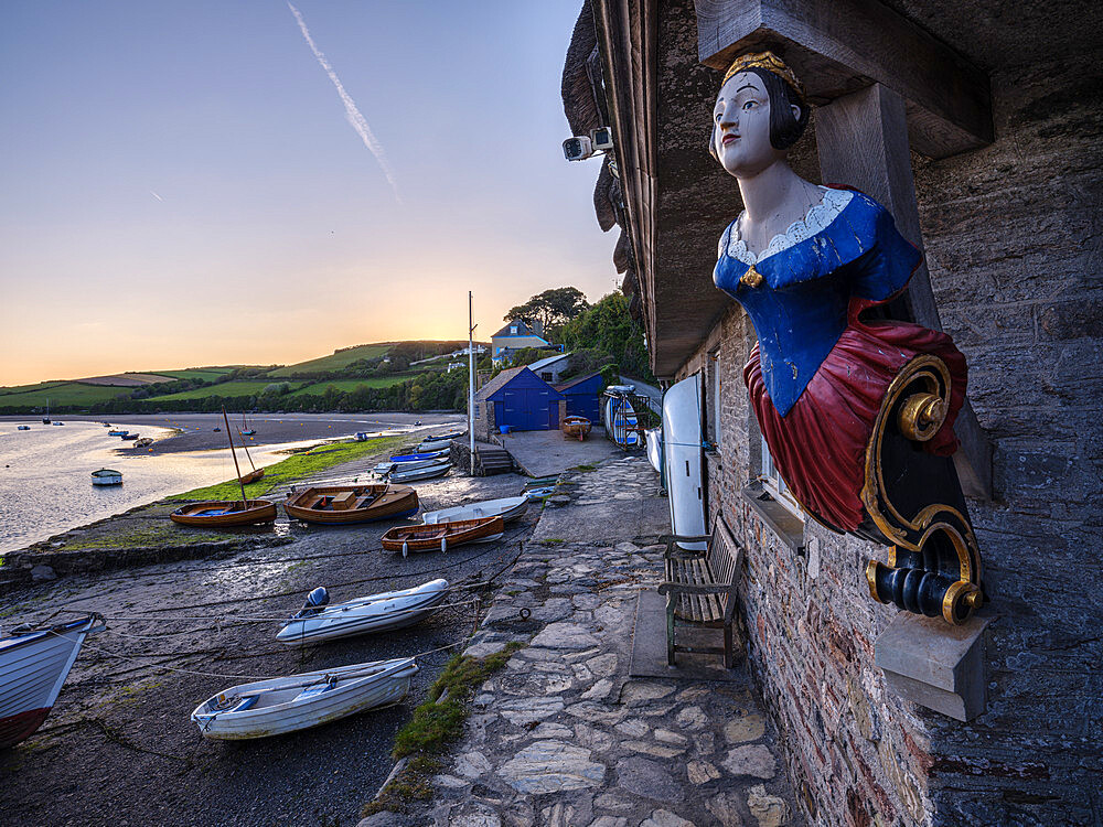 Coronation boat house, boats and River Avon at Bantham, Devon, UK - 1295-233